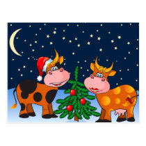 Sweet Merry Christmas Cow Couple By Christmas Tree Postcard