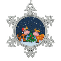 Sweet Merry Christmas Cow Couple By Christmas Tree Snowflake Pewter Christmas Ornament
