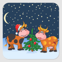 Sweet Merry Christmas Cow Couple By Christmas Tree Square Sticker