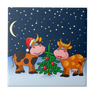 Sweet Merry Christmas Cow Couple By Christmas Tree Tile