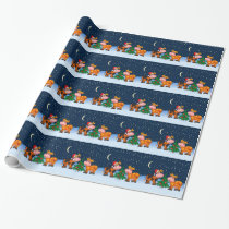 Sweet Merry Christmas Cow Couple By Christmas Tree Wrapping Paper