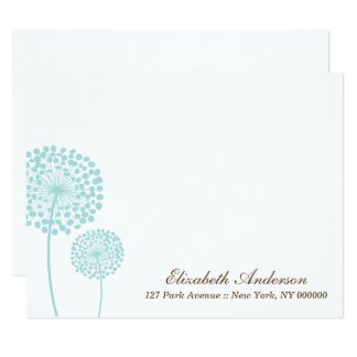 Sweet Mint Dandelions Flat Thank You Notes Card