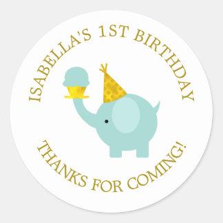 Sweet Mint Green Elephant Birthday Party Classic Round Sticker