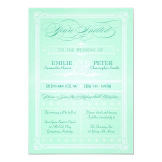Sweet Mint Green Poster Style Wedding Invitation
