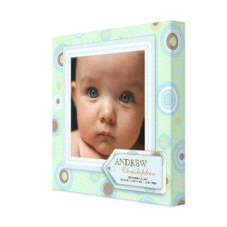 Sweet Mint Polka Dot Baby Boy Photo Birth Canvas Stretched Canvas Print