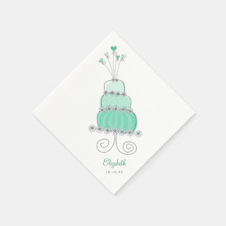 Sweet Mint Wedding Cake Chic Bridal Shower Party Paper Napkin