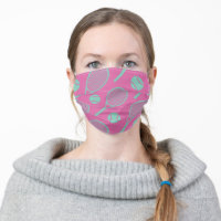 Sweet minty tennis rackets on pink background cloth face mask