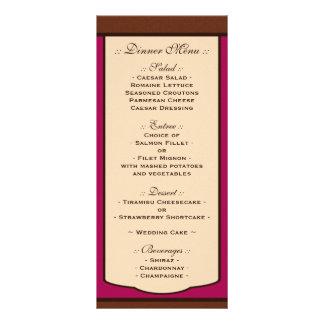 Sweet Mocha & Fuchsia Wedding Reception Menus