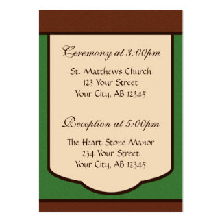 Sweet Mocha & Green Wedding Guest Reference Card