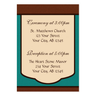 Sweet Mocha & Teal Wedding Guest Reference Card