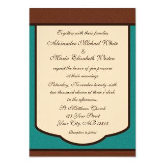 Sweet Mocha & Teal Wedding Invitations