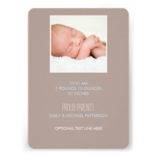 Sweet & Modern Baby Boy Birth Announcement (back side)
