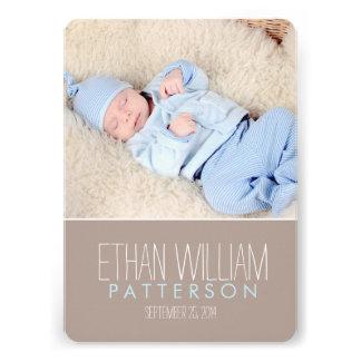 Sweet Modern Baby Boy Birth Announcement