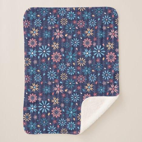 Sweet modern spring garden flowers sherpa blanket