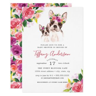 Sweet Mom And Baby Boston Floral Baby Shower Invitation