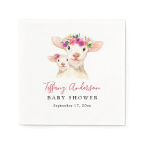 Sweet Mom And Baby Lamb Floral Baby Shower Napkin