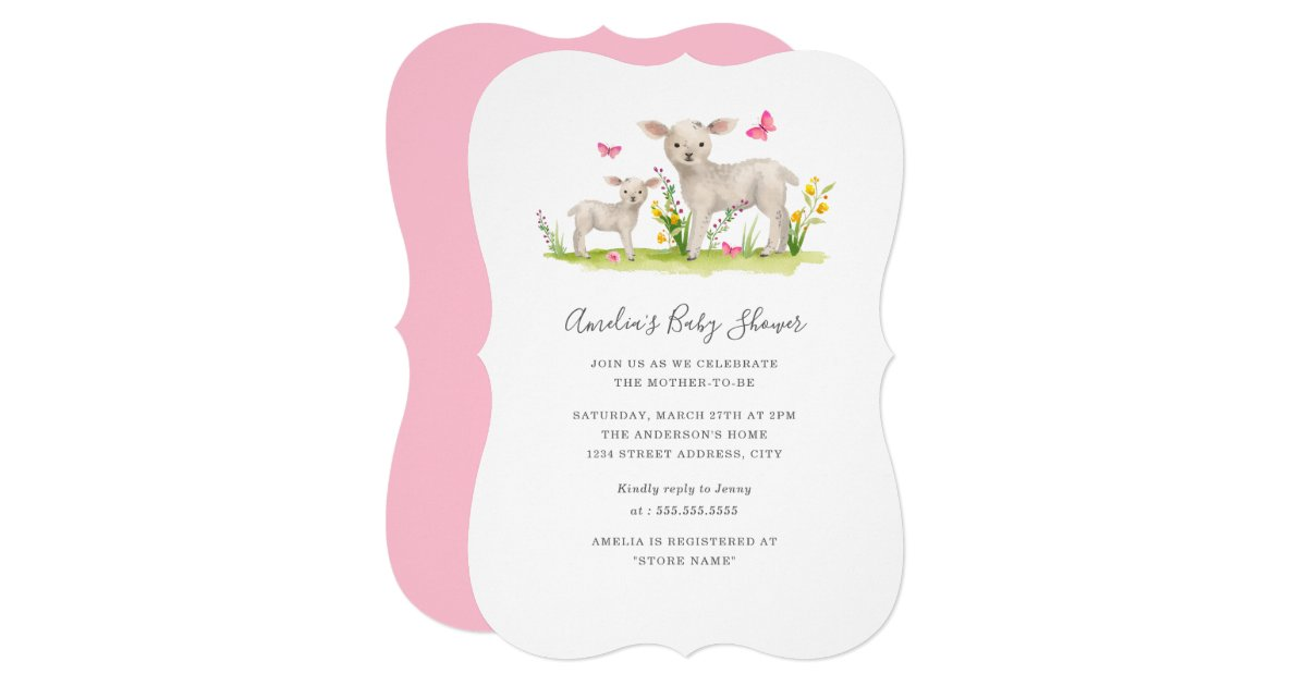 Sweet Mom Baby Sheep Baby Shower Invitation | Zazzle.com