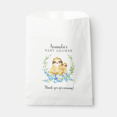 Sweet Mom & Baby Sloth Shower Favor Bags