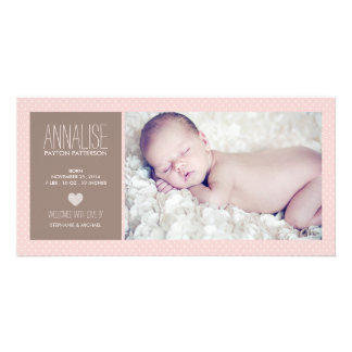 Sweet Moment Photo Baby Girl Birth Announcement Photo Card