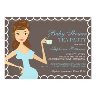 Sweet Mommy Baby Shower Tea Party Invitation Blue