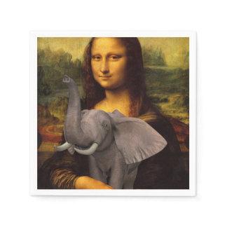 Sweet Mona Lisa Loves Elephant Paper Napkin