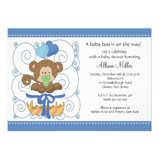 sweet monkey baby boy baby shower 5 x 7 invitation card zazzle