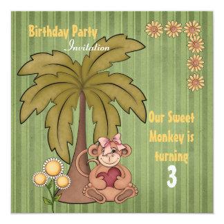 Sweet Monkey Birthday Invitation