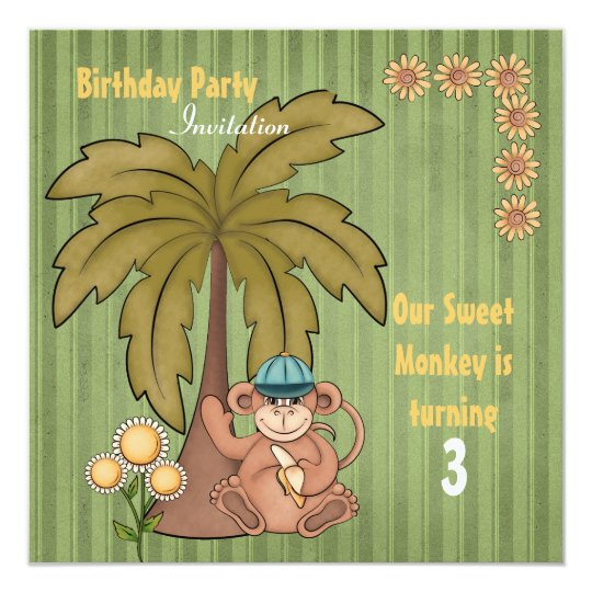 Sweet Monkey Birthday Invitation