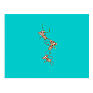 sweet monkey chain postcard