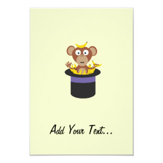 sweet monkey with bananas in hat card
