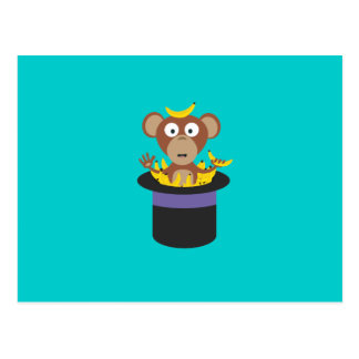 sweet monkey with bananas in hat postcard