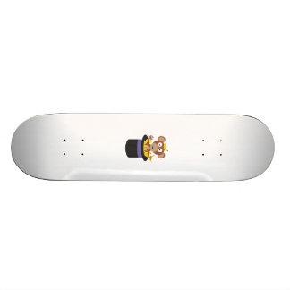 sweet monkey with bananas in hat skateboard