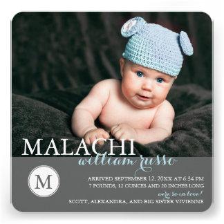Sweet Monogram Baby Boy Birth Announcement