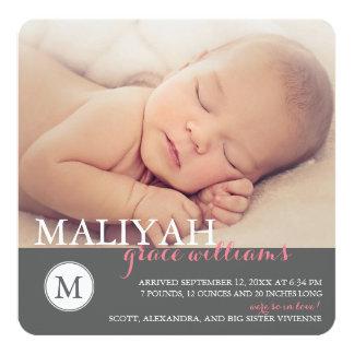 Sweet Monogram Birth Announcement / Rose Dots
