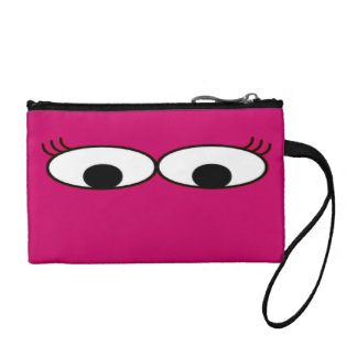 Sweet Monster Eyes On A Hot Pink Background Coin Wallet