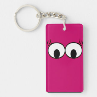 Sweet Monster Eyes On A Hot Pink Background Keychain