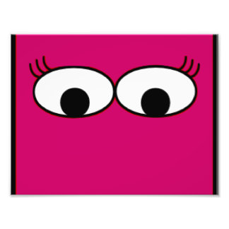 Sweet Monster Eyes On A Hot Pink Background Photo Print