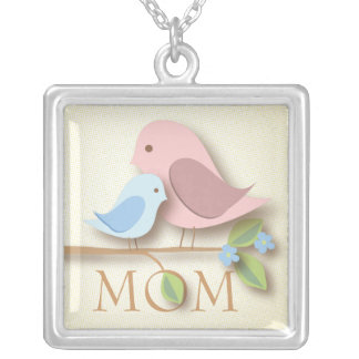 Sweet Mother Bird with Baby Mothers Day New Mom Square Pendant Necklace