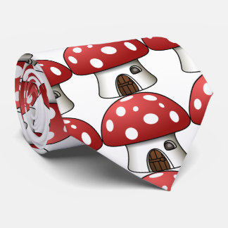 sweet mushrooms home, red-white. neck tie