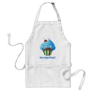 Sweet Mustached Cupcake Adult Apron