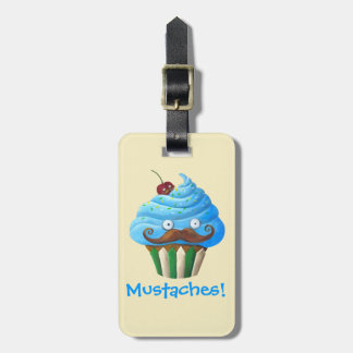 Sweet Mustached Cupcake Bag Tag
