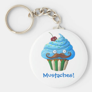 Sweet Mustached Cupcake Basic Round Button Keychain