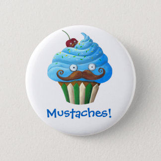 Sweet Mustached Cupcake Button