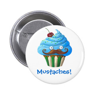 Sweet Mustached Cupcake Pinback Button