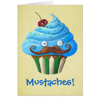 Sweet Mustached Cupcake Card
