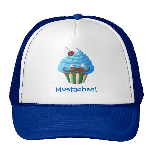 Sweet Mustached Cupcake Mesh Hat