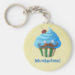 Sweet Mustached Cupcake Keychain
