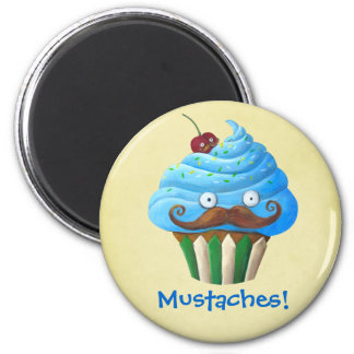 Sweet Mustached Cupcake Magnet