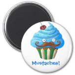 Sweet Mustached Cupcake Magnets