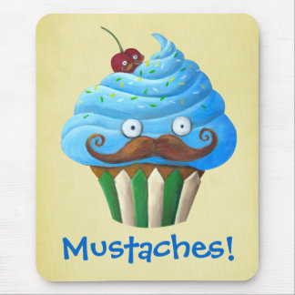Sweet Mustached Cupcake Mouse Pad